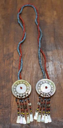 """Philippines Earrings Ilongot Mother of Pearl Shell Beaded Earrings  2.5"""""""