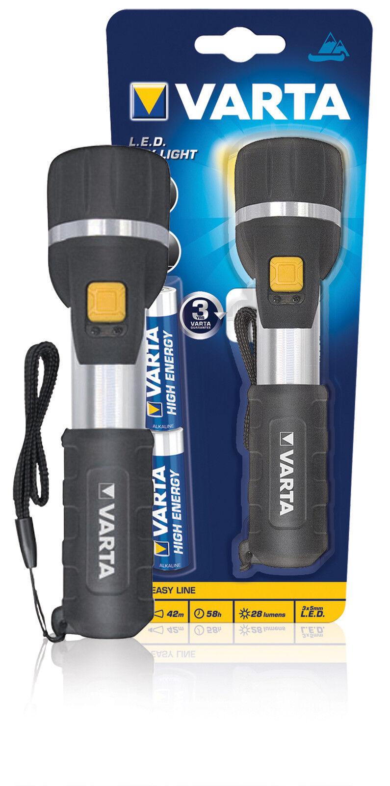 2x Batterie Alkaline AA inkl Easy Line LED Taschenlampe Varta Day Light 25lm
