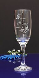 Personalised Engraved Its Prosecco O'clock Champagne Flute Glass butterflys 194