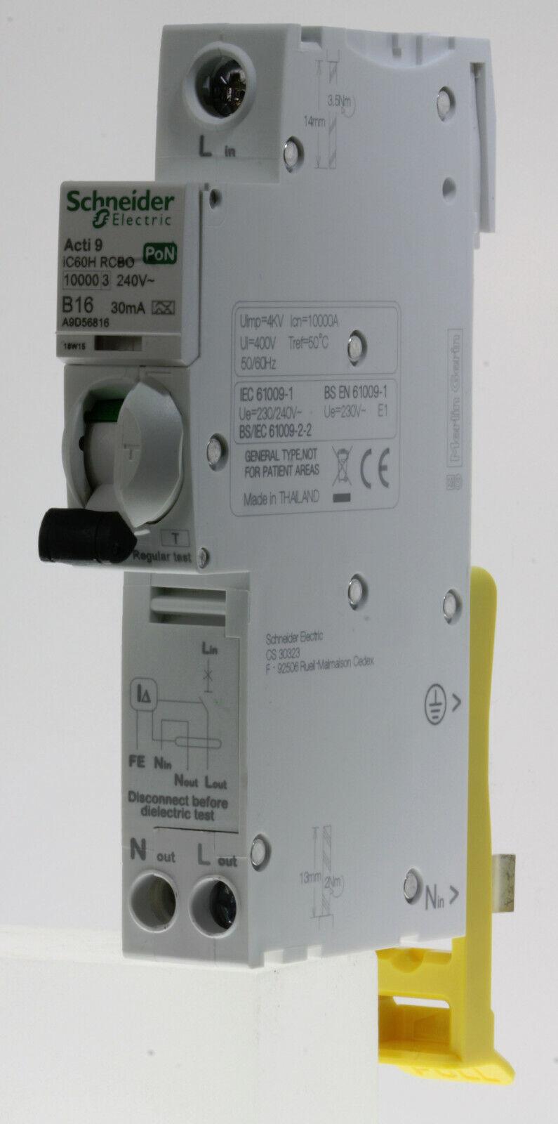 Schneider Acti 9 - A9D56816 - 16a 30mA Type B Single Pole + Ns Type A RCBO PoN