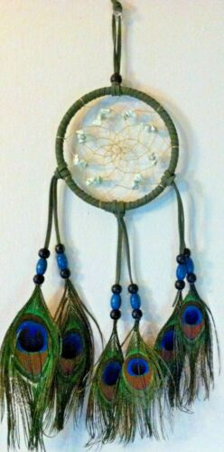 Cherokee Dream Catcher ~ Turquoise & Peacock Feathers ~ Green Leather