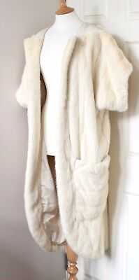 CLAUDE MONTANA ivory amazing mink coat gilet short sleeves vintage 80s