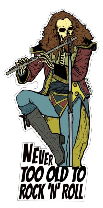 Jethro Tull Ian Anderson Too Old To Rock And Roll Vinyl Decal Skeleton Sticker