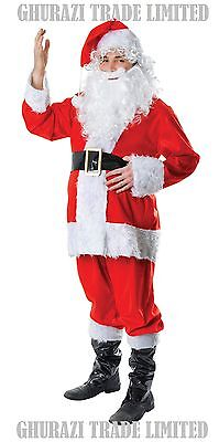 MEN'S SANTA FUR 7 PIECES DELUXE HIGH QUALITY CHRISTMAS COSTUME XMAS FANCY - High Quality Mens Costumes