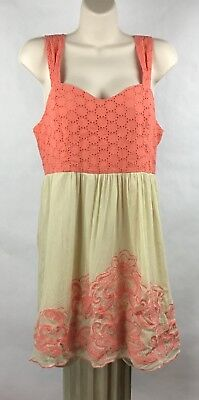 Flying Tomato Size L Dress Eyelet Bodice Lined Cut-Out Back Sundress Coral -