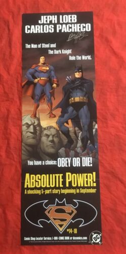 BATMAN SUPERMAN ABSOLUTE POWER~PROMOTIONAL POSTER~SIGNED BY CARLOS PACHECO