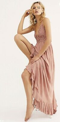 "Free People Fp One ""Adella"" Slip Maxi Dress Crochet Lace. S,M & L Color-Rose"