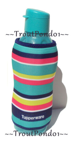Tupperware ECO 25 oz Sports Bottle Insulated Koozie Stripes Teal New