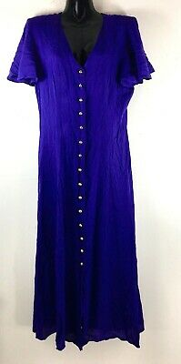 City Lights Women's Dress Size 12 Button Front Long Blue Purple Rayon Sheer