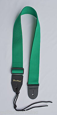 Guitar Strap GREEN NYLON Fits All Acoustic & Electrics Made In U.S.A. Since 1978