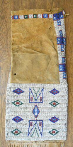 """Native American Lakota Sioux Original c 1870 Beaded Fringed Long Pipe Bag 37"""""""