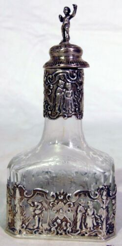Antique 19th C Silver Cut Glass Perfume Dresser Bottle