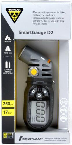 Topeak SmartGauge D2 Presta/Schrader 250psi Bike Digital Tire Air Pressure Gauge