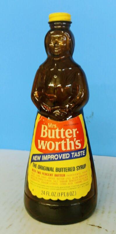 "Vintage Mrs. Buttersworth's Syrup Brown Glass Bottle W/ Metal Cap/lid 24 Oz 10"""