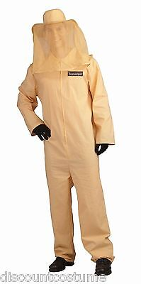 ADULT BEE KEEPER JUMPSUIT W/ MESH NETTING HAT HALLOWEEN COSTUME ](Beekeeper Hat Costume)