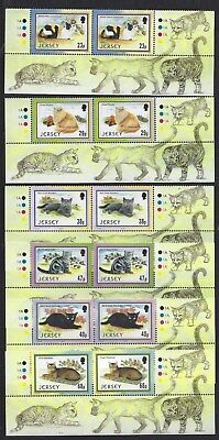 JERSEY 2002 CATS MARGINAL PAIRS SET OF 6 UNMOUNTED MINT, MNH