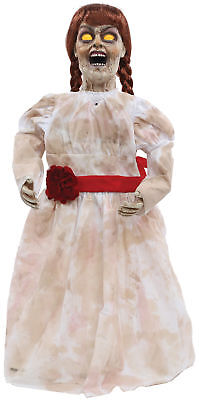 Grim Girl Doll Halloween Prop Animated Poseable Annabelle Haunted House Decor