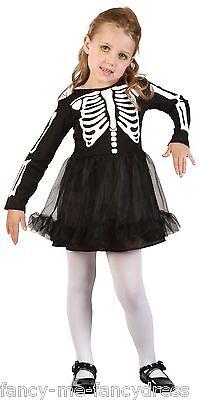 Kleinkind Mädchen Schwarz Skelett Tutu Halloween Kostüm Kleid Outfit 2-3 (Kleinkind Skelett Kleid)