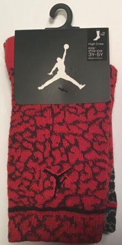 2 Pairs Nike JumpMan Jordan high crew Socks $14 Size 3Y-5Y Youth red grey Black