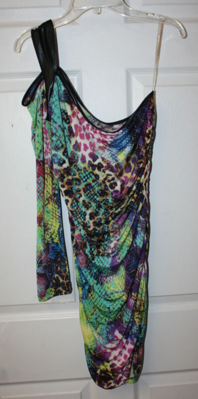Ladies Juniors Multi Color One Shoulder One Sleeve Tight Fitting Dress Size Med