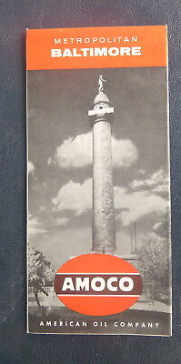 1957 Baltimore metro road map Amoco oil gas Delaware & Chesapeake Bay dt streets