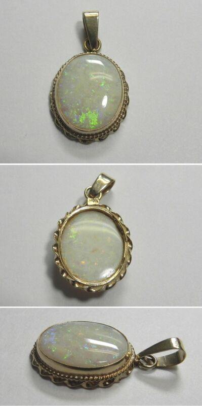C988 Vintage 14K Solid Yellow Gold Large 17x13mm Opal Twisted Bezel Pendant
