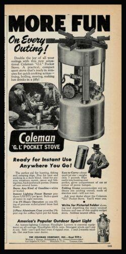 1946 COLEMAN G.I. Pocket Stove PRINT AD Camping Cooking