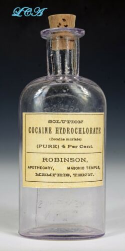 COCAINE antique ROBINSON APOTHECARY bottle EMBOSSED w/ COCAINE label