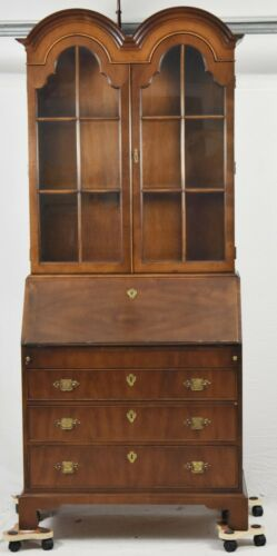 Henredon Chippendale Style Walnut Secretary Desk with Double Bonnet