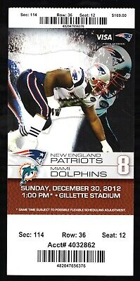 Dec 30, 2012 New England Patriots & Miami Dolphins Full Ticket Brady 2 TD's