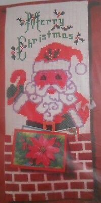 Christmas Card Holder Ideas (Bernat Holiday Ideas Christmas Card Holder Counted Cross Stitch Kit Santa NEW )