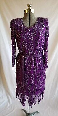True Vintage Scala Beaded Dress Flapper Dress 1920's Gatsby Purple Sequin Large - Long Sleeve Flapper Dress
