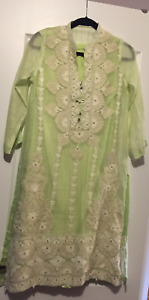 Agha Noor Light Green Dress with White embroidery