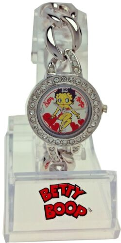 New Old Stock Betty Boop Watch ChainLink Band Round White Rhinestone Bezel Face
