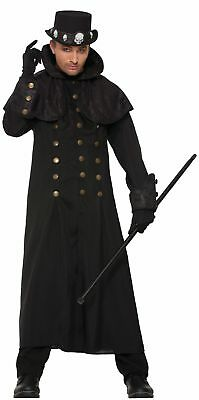 Men's Warlock Coat Costume Vampire Lord Victorian Steampunk Black Gothic Adult - Mens Warlock Costume
