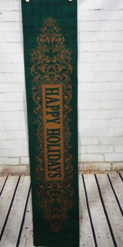 """CHRISTMAS TAPESTRY TABLE RUNNER """"Happy Holidays"""" Victorian Formal Green/Gold"""
