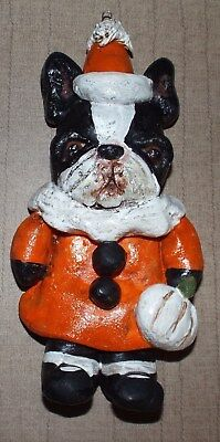 New Folk Art Ornament Boston Terrier Halloween Bakers Clay Ornie Vintage Style ()