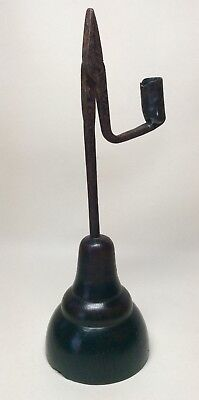 Very Rare 18th 19th Century Iron & Wooden Rushlight Rushnip Holder. Candlestick