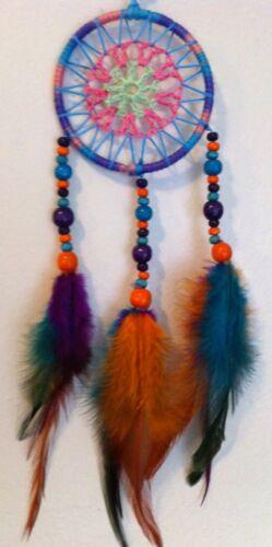 Small Cherokee Dream Catcher ~ Pink Purple Turquoise ~ Wood Beads