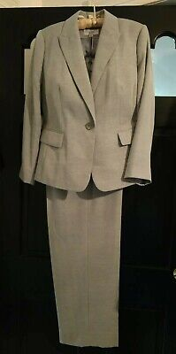 Le Suit Woman 16W Light Gray Blend 2Pc Career Pant Suit LOVELY!