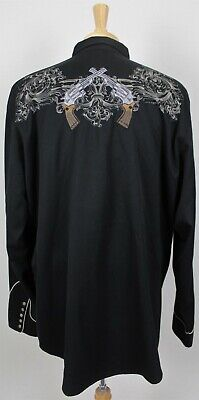 Roper Western Pearl Snap Embroidered Guns Shirt 2XL Black Rockabilly Embroidered Black Western Shirt