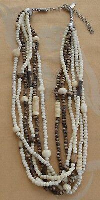 - Wooden Beaded, Bone Multi-strand Necklace, Tribal, Adjustable, 20