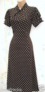 NEXT-SIZE-10-TEA-DRESS-VINTAGE-40S-WW2-LANDGIRL-STYLE-POLKA-DOT-US-8-EU-38