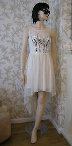 16 LIPSY DRESS CREAM SEQUIN DIP HEM FLOATY CHIFFON WEDDING SUMMER BRIDESMAID