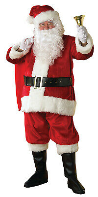 Deluxe Professional Red Santa Claus Suit Costume with Wig and - Red Beard Kostüm