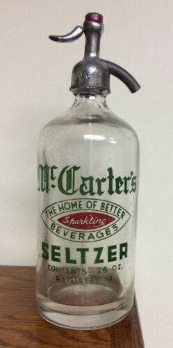 Seltzer Siphon Bottle Vintage NY Glass Antique Mc Carters J Babad