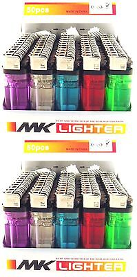 100 Disposable Cigarette Lighters Wholesale Bulk Lot Lighter Classic Full Size - Bulk Lighters