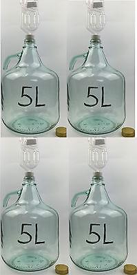 4 x SET 5L Flasche + Stopfen + Gärröhrchen Weinballon Gärballon Gärbehälter