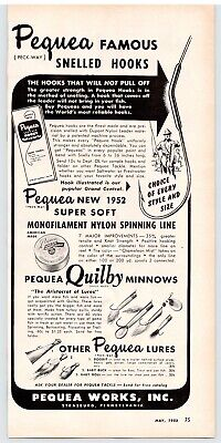 PEQUEA snelled hooks 1952 ad clipping fishing lures QUILBY MINNOW DOODIT tackle