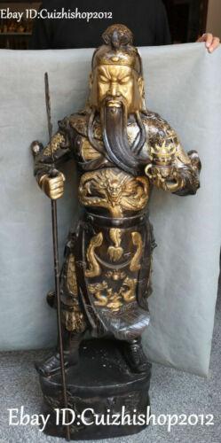 "23"" old Bronze Gilt 3 Longevity God Fu Lu Shou Life Peach Ruyi Dragon Tongzi set"